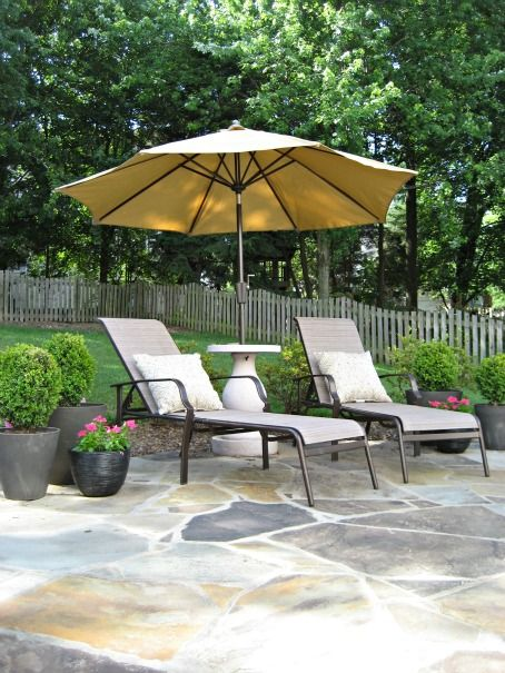 Flagstone Patio With Potted Plants Backyard Landscaping