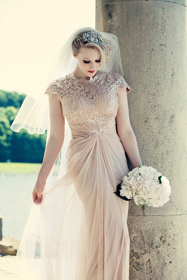 A Pale Pink Wedding Dress, Red Lipstick And Shades Of Yellow For A ...