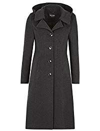 6aa2ccb8a8 La Crème - Femmes laine hiver et Cachemire femmes à capuche mi-long manteau  -