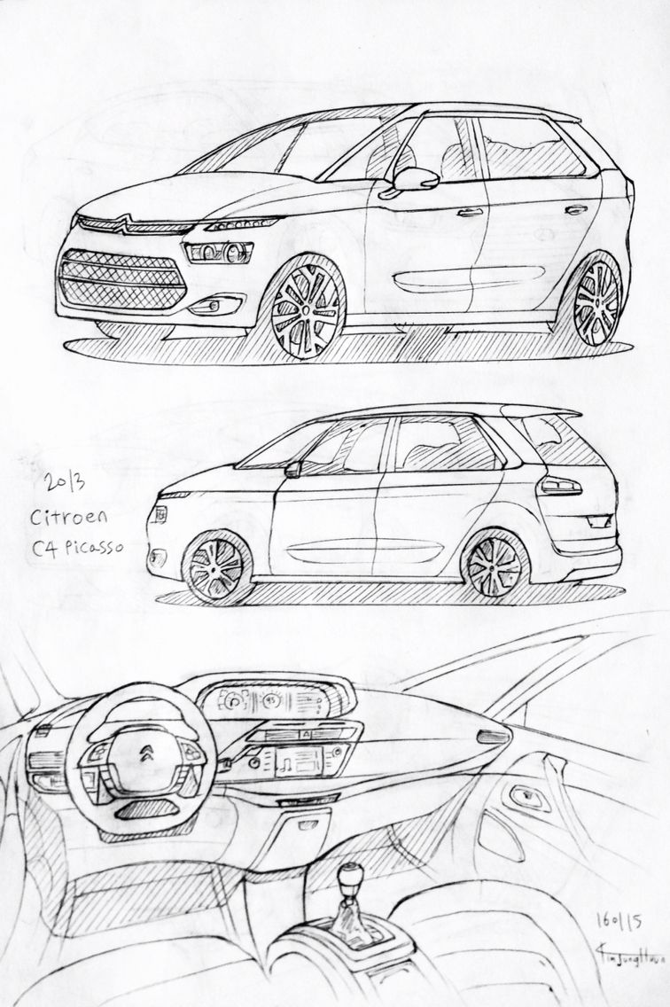 Car drawing 160115. 2013 Citroen C4 Picasso. Prisma on