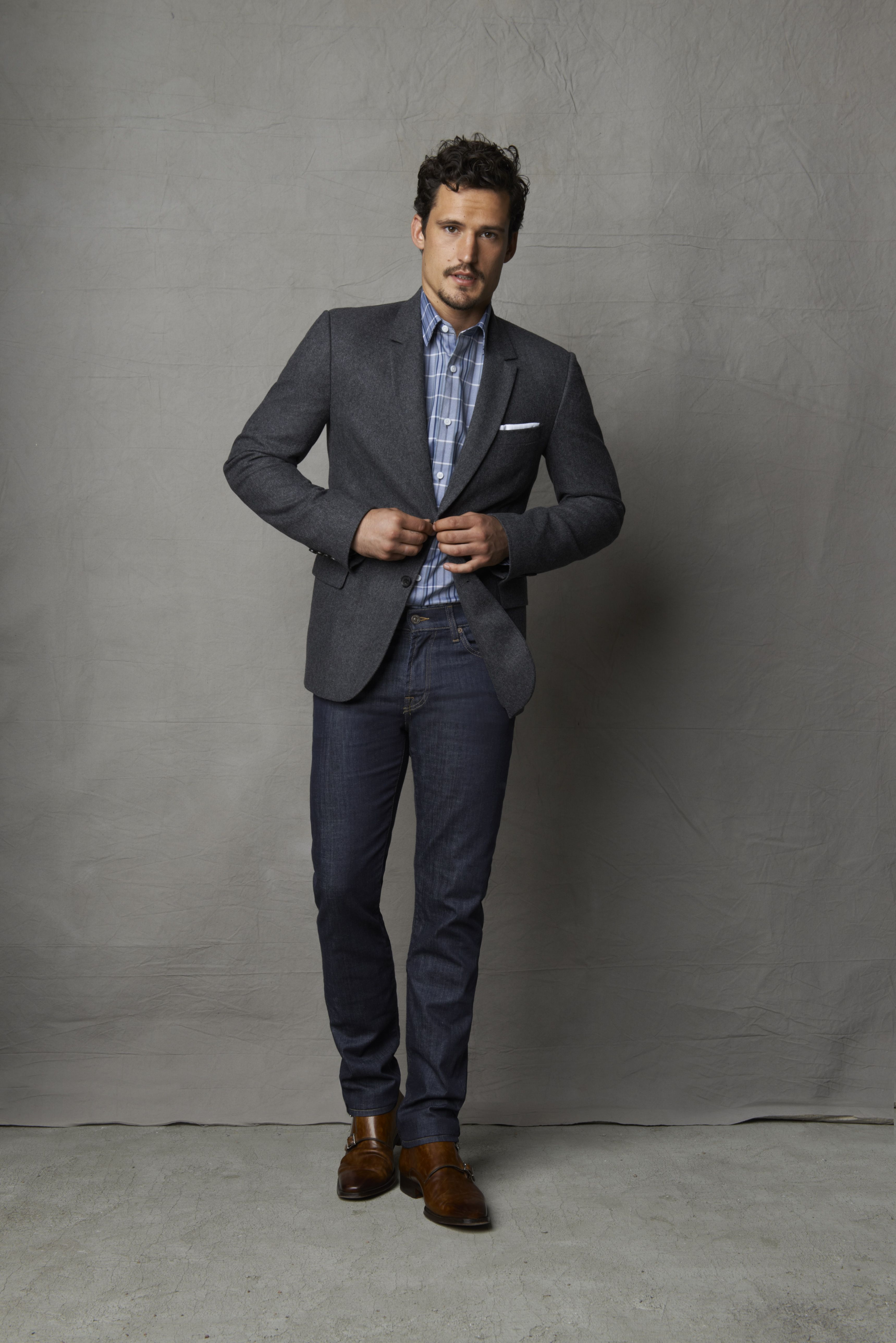 Style tip: Dress-up denim by adding a sportcoat. Perfect ...