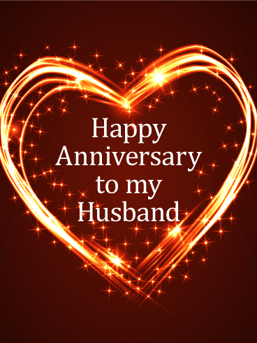Glittering Heart Happy Anniversary Card For Your Amazing Husband