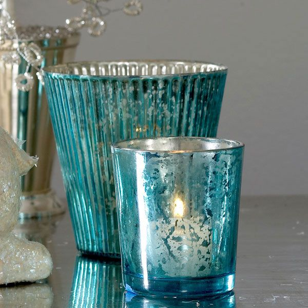 Steal Of The Day Cool Blue Mercury Glass Votive Holders Aquablue