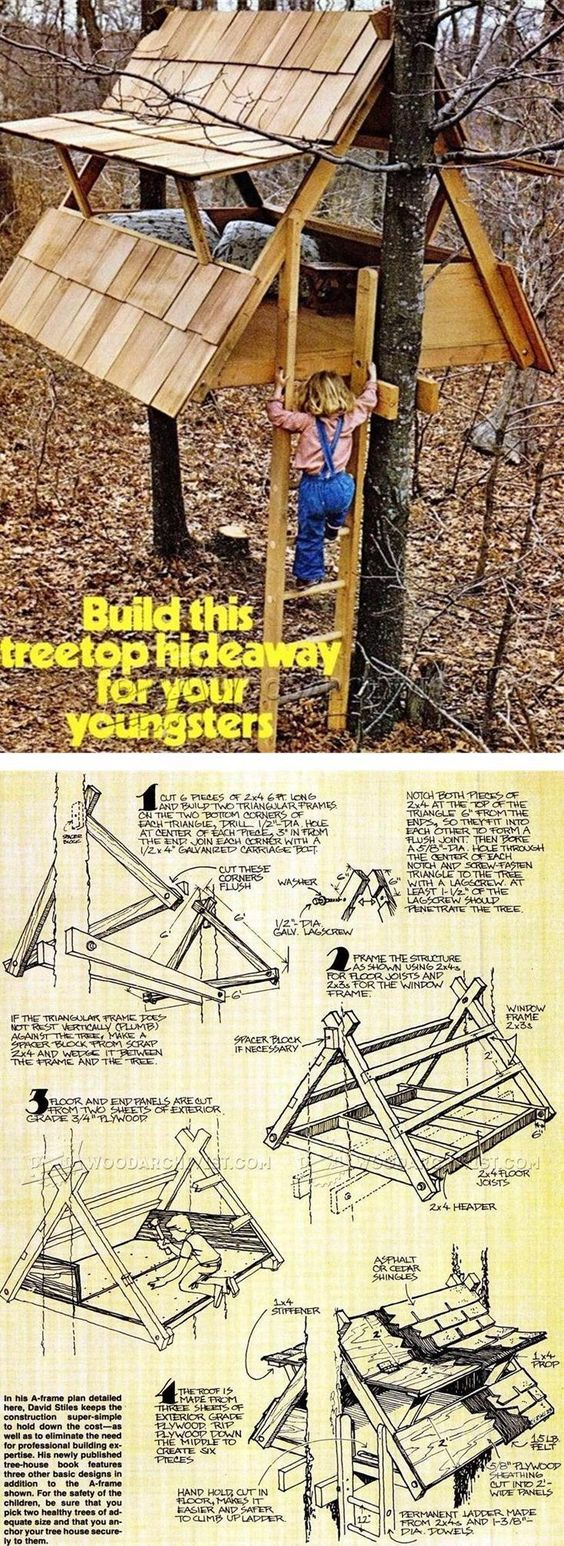 How to build an indoor tree house play loft and drill into the studs - Build Treehouse Children S Outdoor Plans And Projects Woodarchivist Com