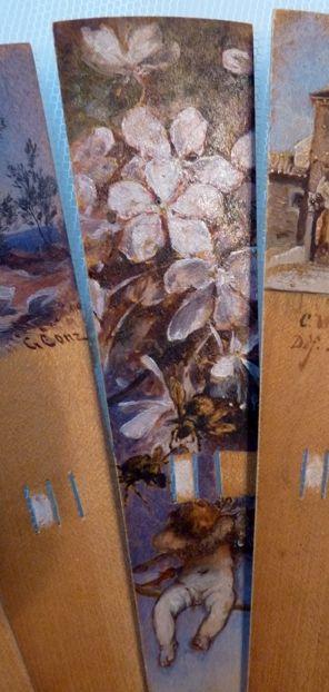 Eventail - Bambou et Rivet Strass - Peint et Signé par 17 Artistes de l'école de Düsseldorf - Années 1880