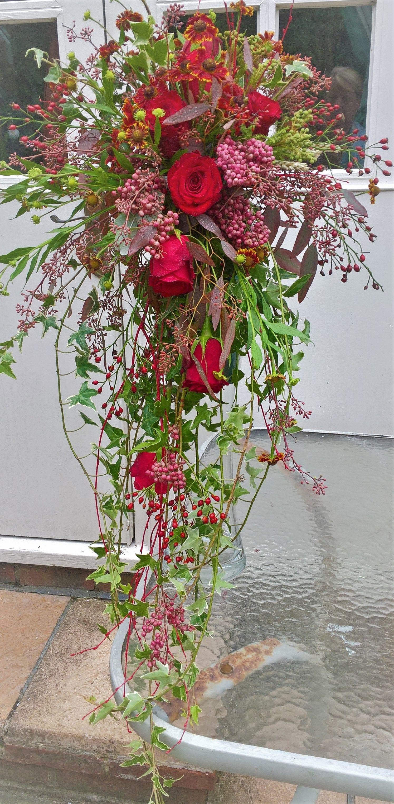 Fabulous Flowing Cascade Wedding Bouquet Love This One Uk Season September Www Chir Chirflowers Pepperberries Red Berries