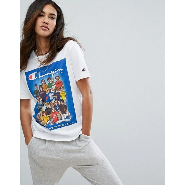 Champion Oversized T Shirt With Retro Athletes Graphic 39 Liked On Polyvore Featuring Top Oversized White T Shirt Oversized Graphic Tee Retro Graphic Tees