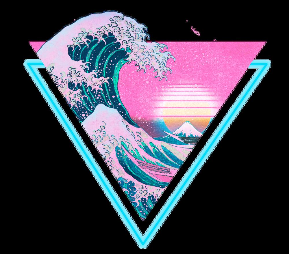 Vaporwave Aesthetic 90 S Great Wave Off Kanagawa Graphic T Shirt By Coitocg Black Medium Mens Fitted Tee Vaporwave Aesthetic Vaporwave Great Wave