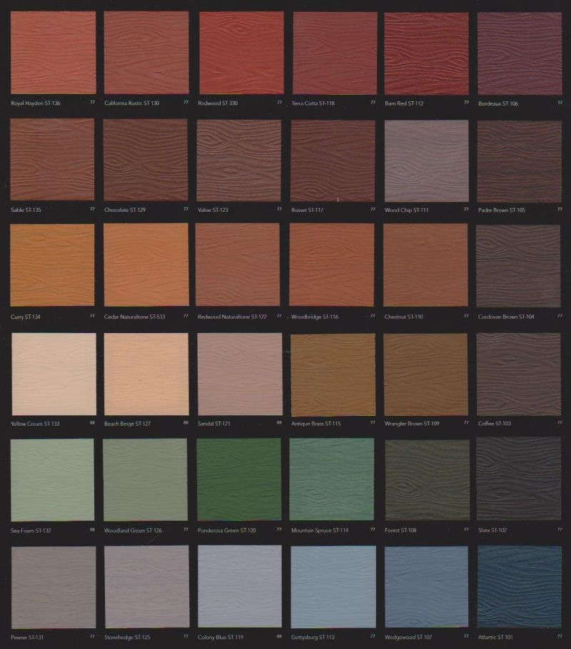 Behr solid deck stain colors behr solid deck stain color chart cabin colors deck pinterest - Exterior wood paint colours plan ...