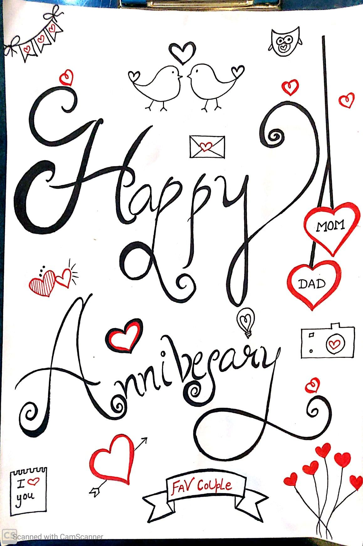 Marriage Anniversary Doodle For Mom Dad Mom Dad Anniversary Marriage Anniversary Cards Mom Birthday Gift