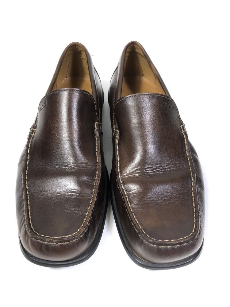differently cute on feet images of Ecco Mens Brown Slip-on Leather Driving Loafers Moccasins EU 45 US ...