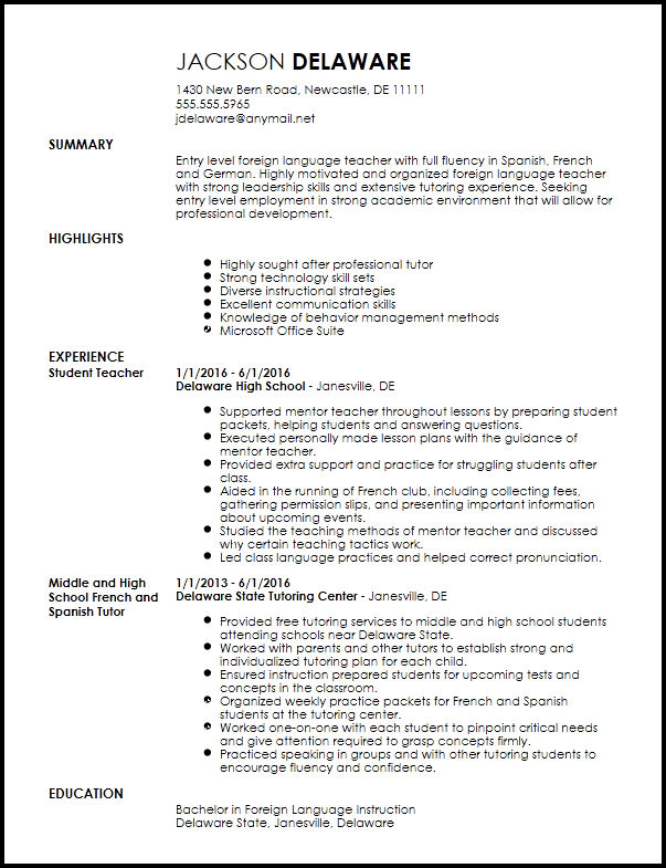 resume templates language skills