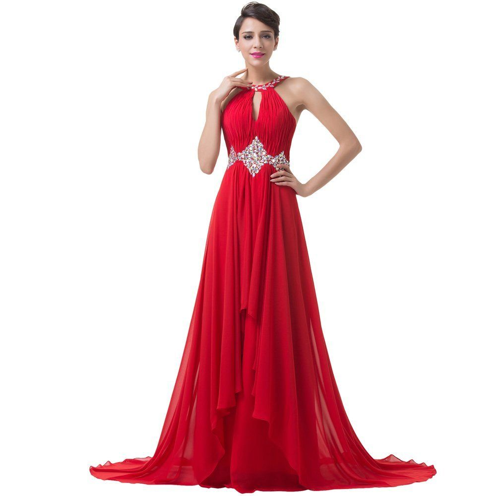 Ugly duckling long chiffon womenus evening dresses crystal prom gown