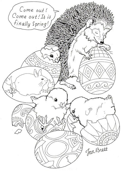 Hedgie S Easter Eggs Spring Coloring Page Courtesy Of Jan Brett A Children S Book Illustrator Spring Coloring Pages Easter Coloring Pages Easter Colouring