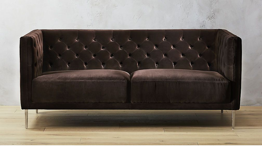 Savile Cocoa Brown Velvet Tufted Apartment Sofa Cb2 Sofa