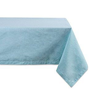 """Amazon.com: DII 100% Cotton, Machine Washable, Everyday Chambray Kitchen Tablecloth For Dinner Parties, Summer & Outdoor Picnics - 60x120"""" Seats 10 to 12 People, Chambray Aqua: Kitchen & Dining"""
