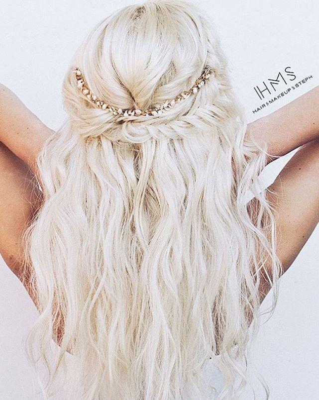 Half-up fishtail crown #hair #braid #ideas #inspiration #updo #hairandmakeupbysteph #bride # ...