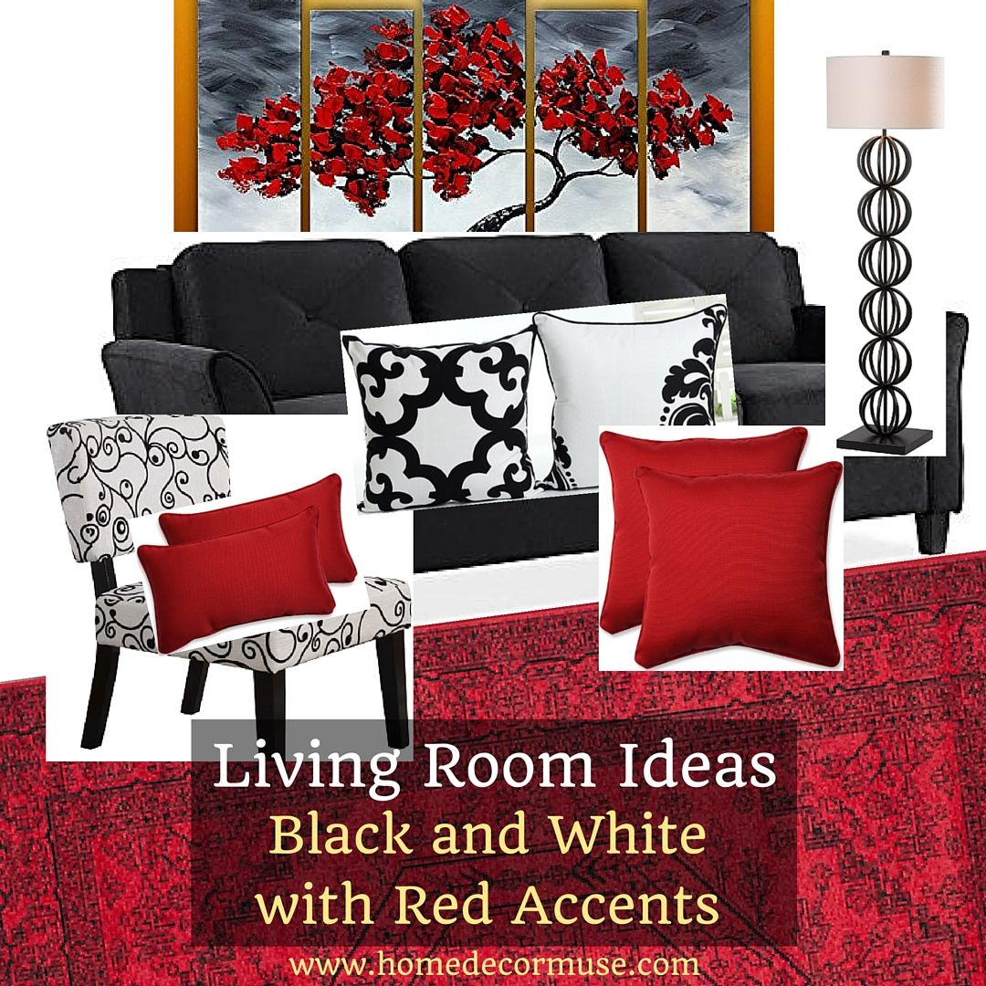 Best Black And White Living Room With Red Accents Black 640 x 480