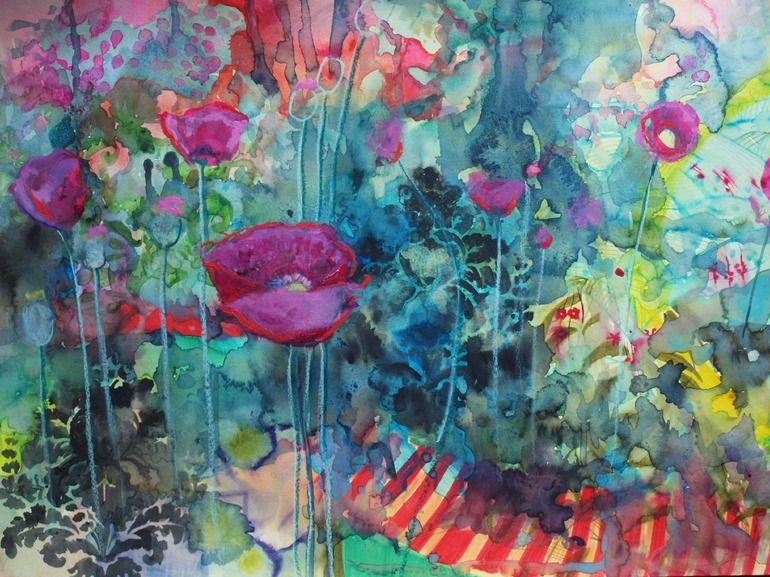 """Saatchi Online Artist: Annie Flynn; Mixed Media, 2012, Painting """"Wild Poppy Circus"""""""