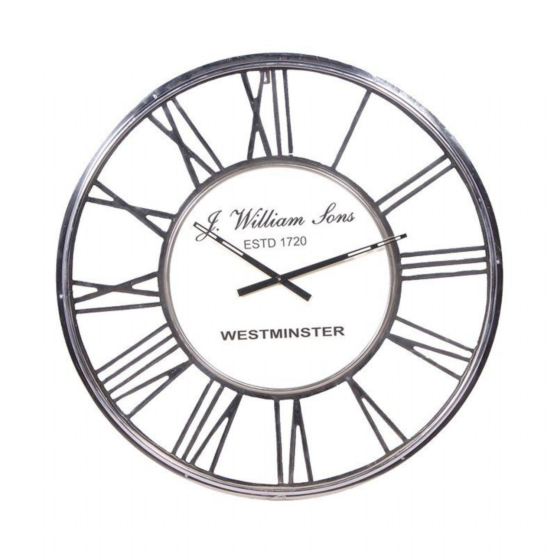 Large chrome metal roman numeral 80cm diameter round wall clock large chrome metal roman numeral 80cm diameter round wall clock amipublicfo Gallery