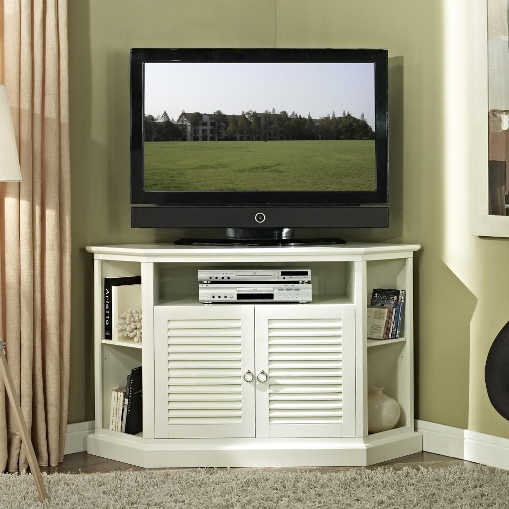 Fancy White Painted Mahogany Wood Tall Corner Tv Stand For Bedroom Inside  Measurements 1024 X 1024