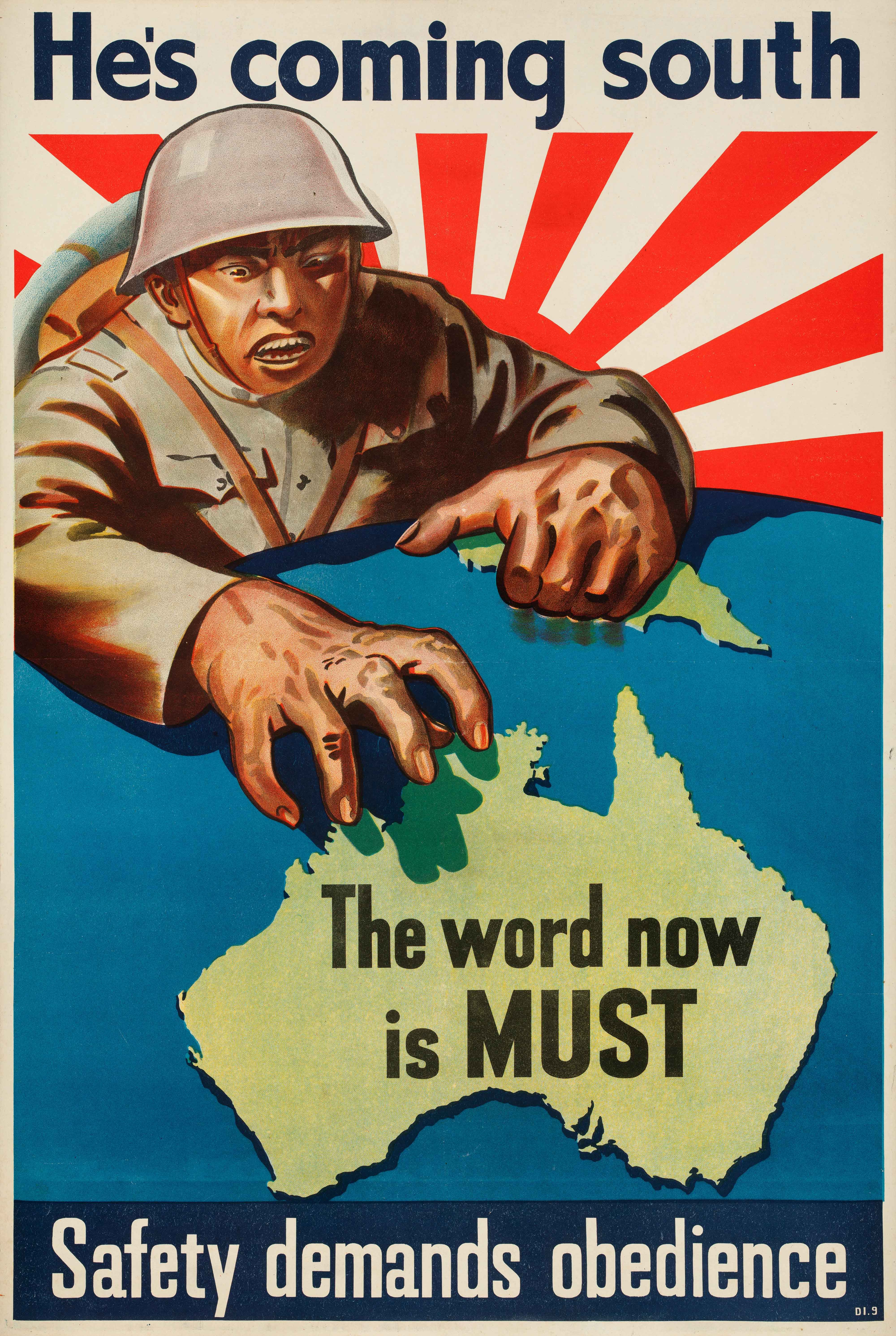 WW2, poster, He's coming south, 1942, Japan, Australia, propaganda