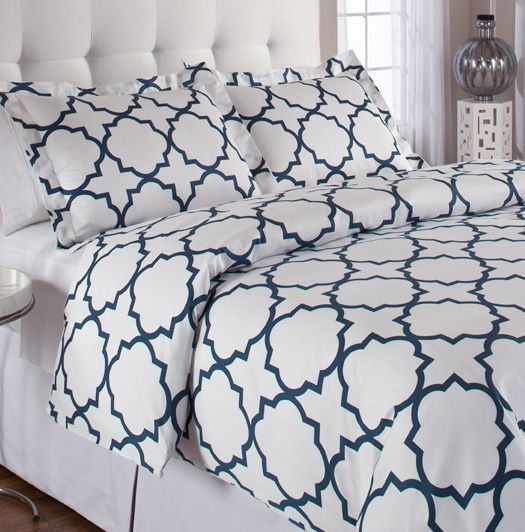 Echelon Quatrefoil King Duvet Cover Set Midnight By Home