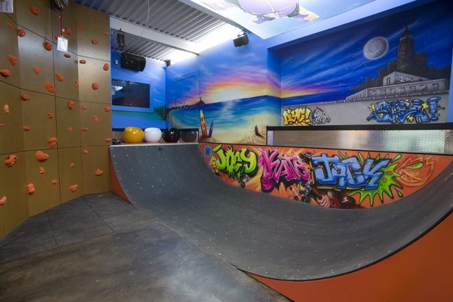 Skateboard Rooms the trophy basement   climbing wall, rock climbing and skateboard