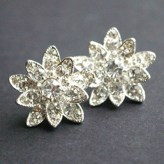 Rhinestone Flower Earrings Studs Vintage Bridal by luxedeluxe, $58.00