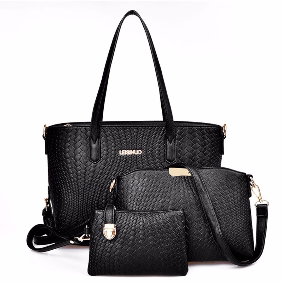 Snakeskin Hand Bags in Black (3pcset), 51 discount