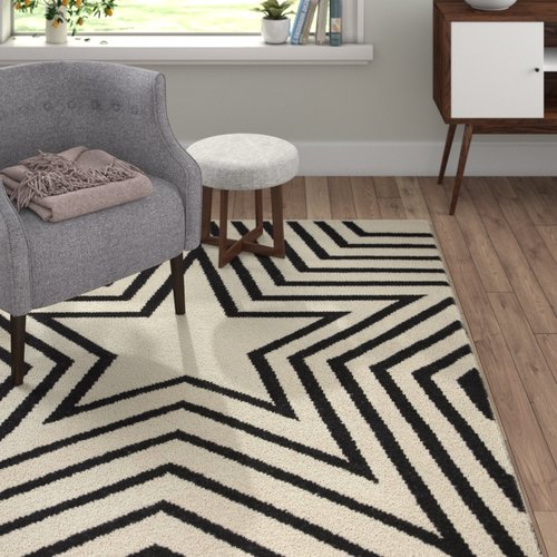 Plantation Rug Fred Black White Area