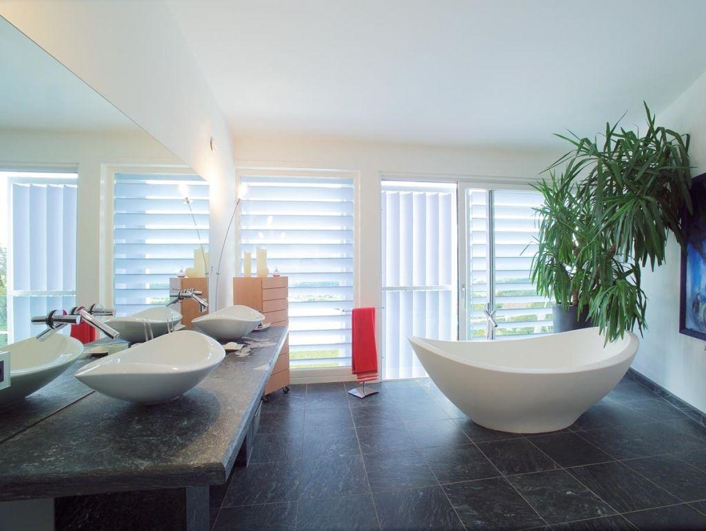 Innenausstattung haus badezimmer  Fertighaus mit Pultdach - 10 Haus und Wohnideen von Griffner ...