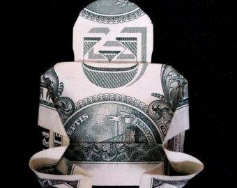 Photo of Real One Dollar Bill Origami Kunst Miniatur WEIHNACHTSBAUM mit Star Money Geschenk XMas Handmade 100 US Dollar Bill 200 Russian Rubles Banknote