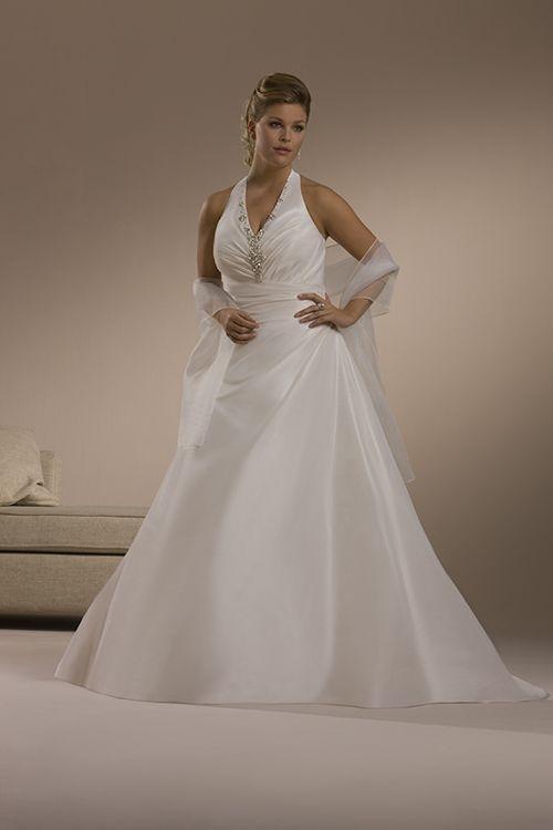Buy Junoesque Plus Size Halter Stones Satin Sweep Train Wedding Dress for Brides Online Cheap Prices