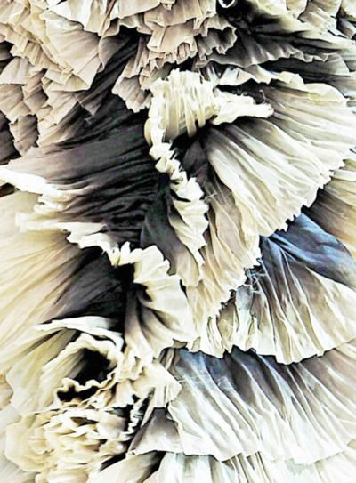 Ombre ruffle dress, crinkled fabric close up detail with beautiful tonal textures; fabric manipulation // Alexander McQueen