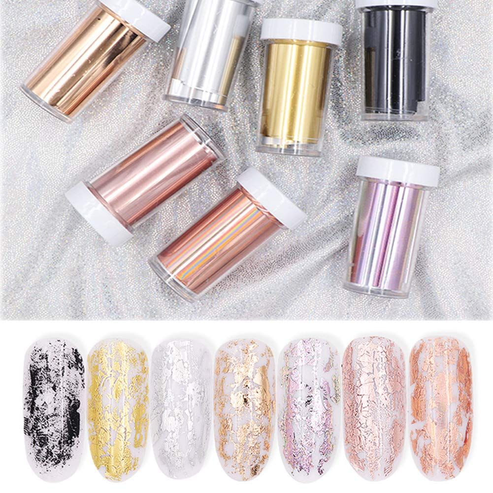 50Pcs Laser Starry Nail Foil Mixed Holographic Decals Designs Nail Art Stickers
