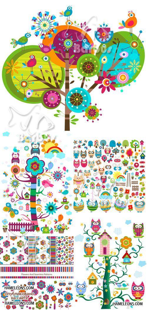 Нарисованные деревья, цветы и птички - детский вектор ...