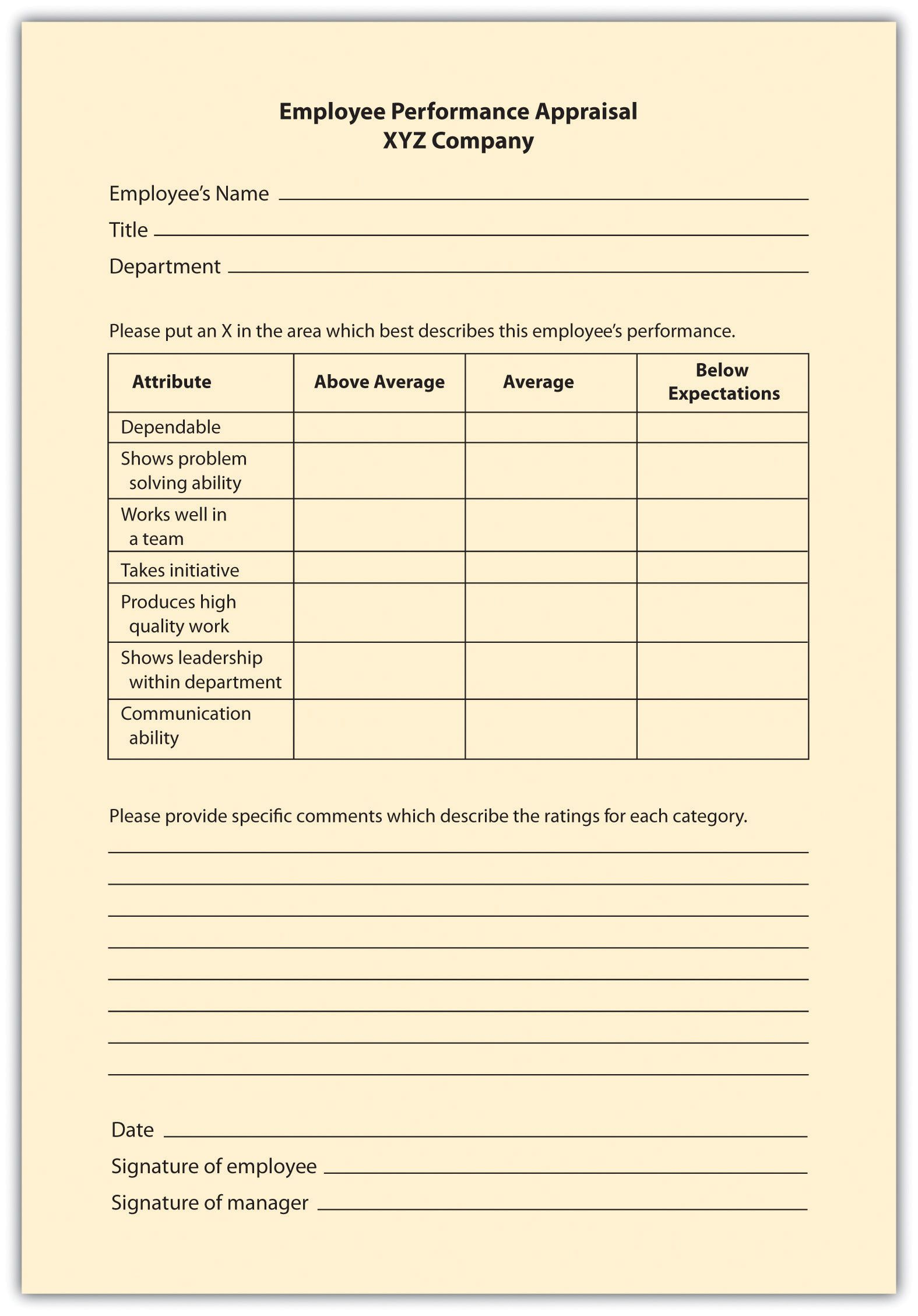 Examples Of Performance Appraisal Graphic Rating Scale Inquire
