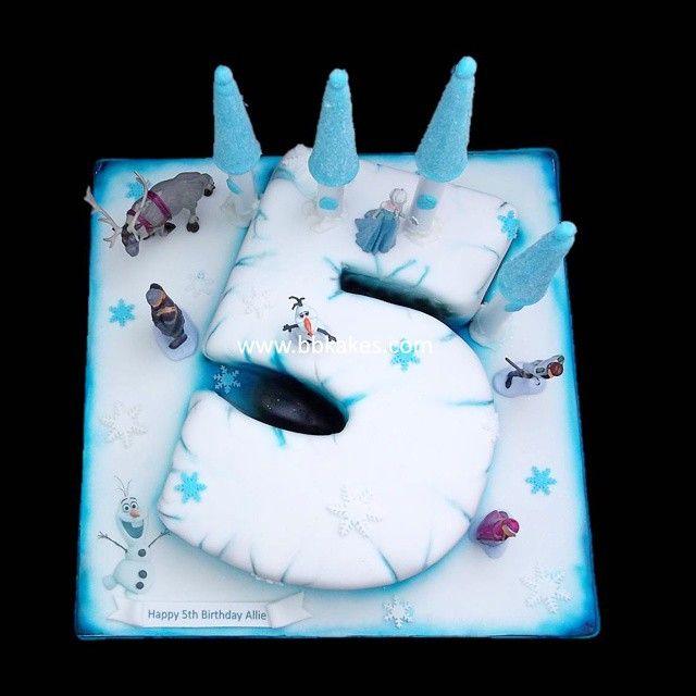Number 5 Frozen castle theme cake by bbkakes cake bbkakes