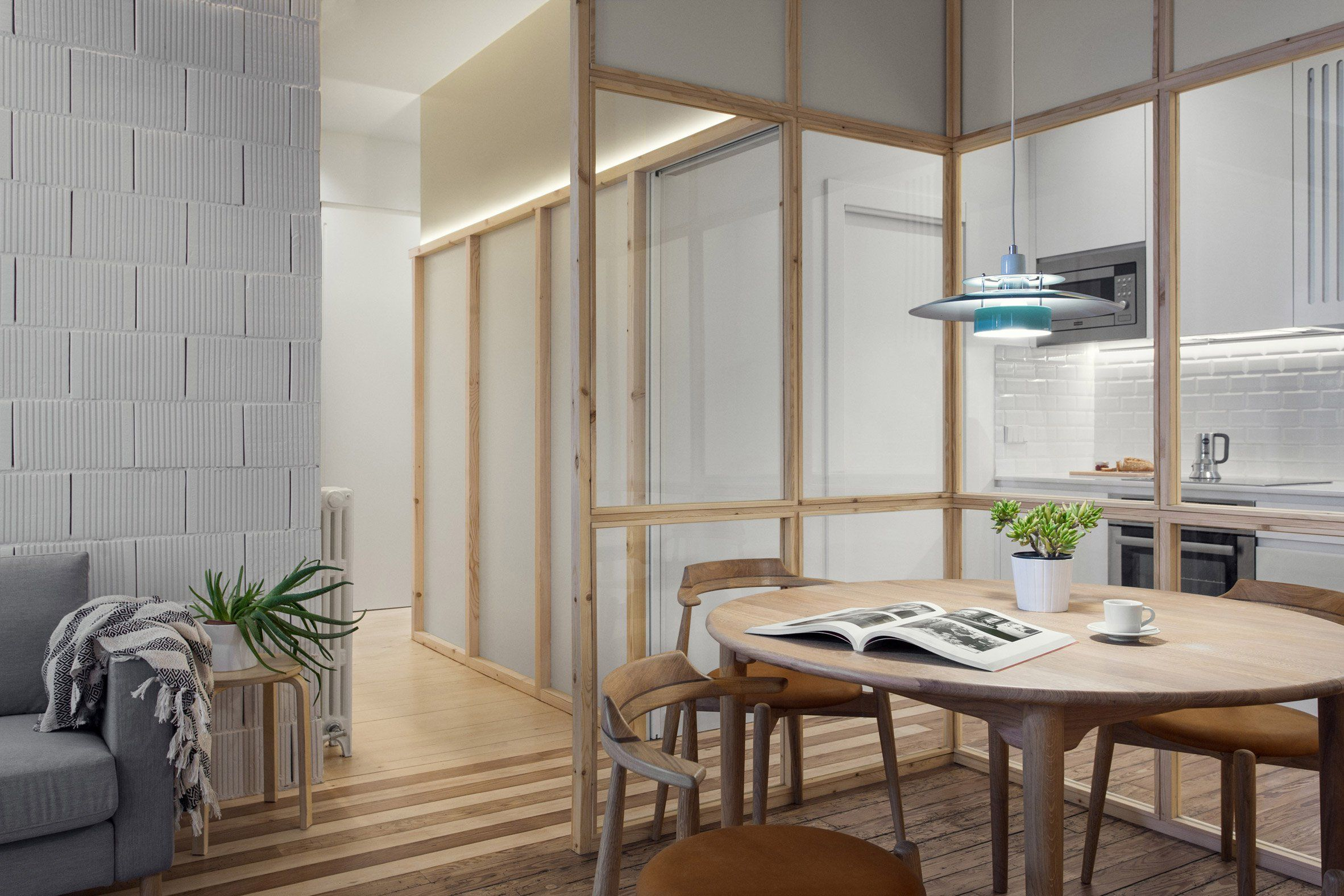 Concrete Girders And Glass Partition Walls Carve Up This Broken Plan Bilbao Apartment Glass Partition Wall Dezeen Interiors Apartment Renovation