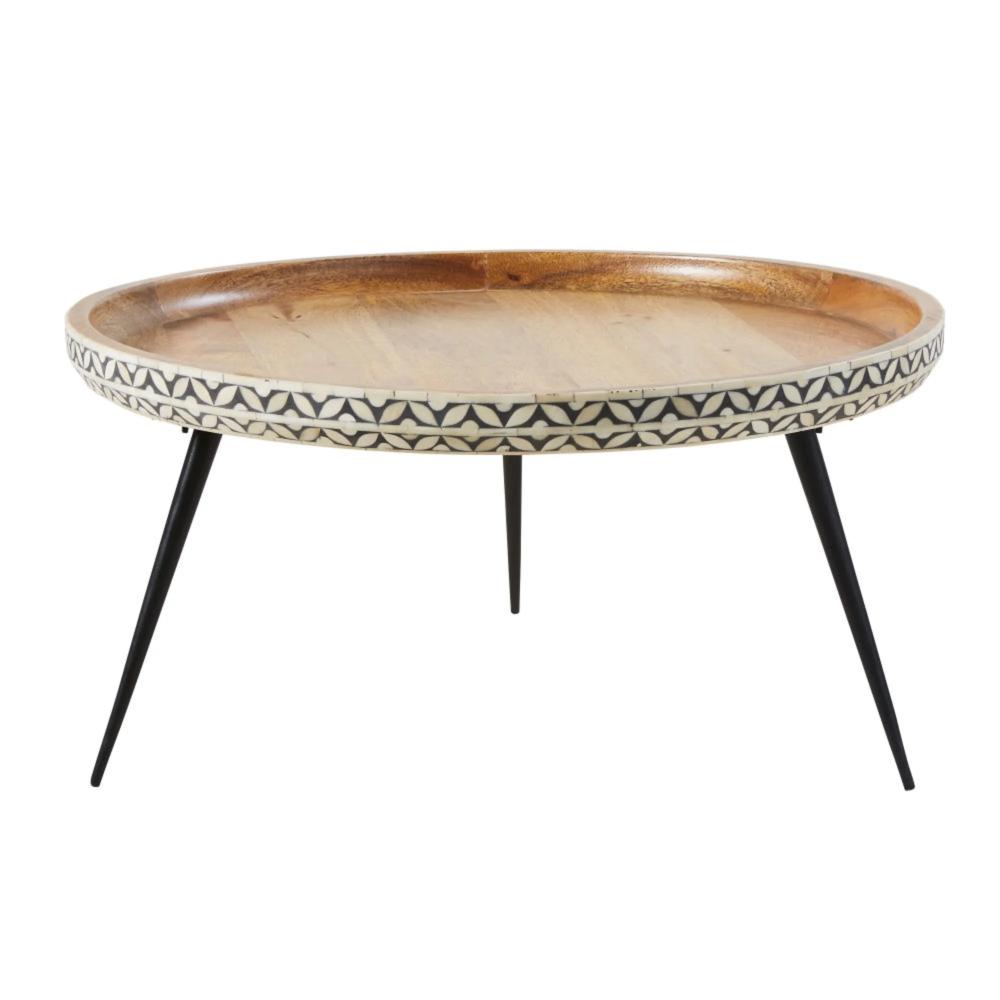 Table Basse Ronde En Manguier Massif Sculpte Et Metal Noir Krishna Maisons Du Monde Table Basse Ronde Table Basse Bois Table Basse