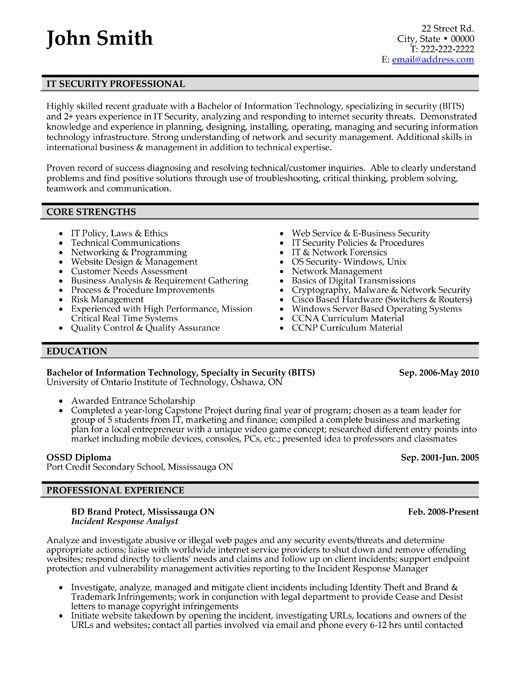 Click Here To Download This It Security Professional Resume Template Http Www Resumetemp Resume Template Professional Job Resume Format Good Resume Examples