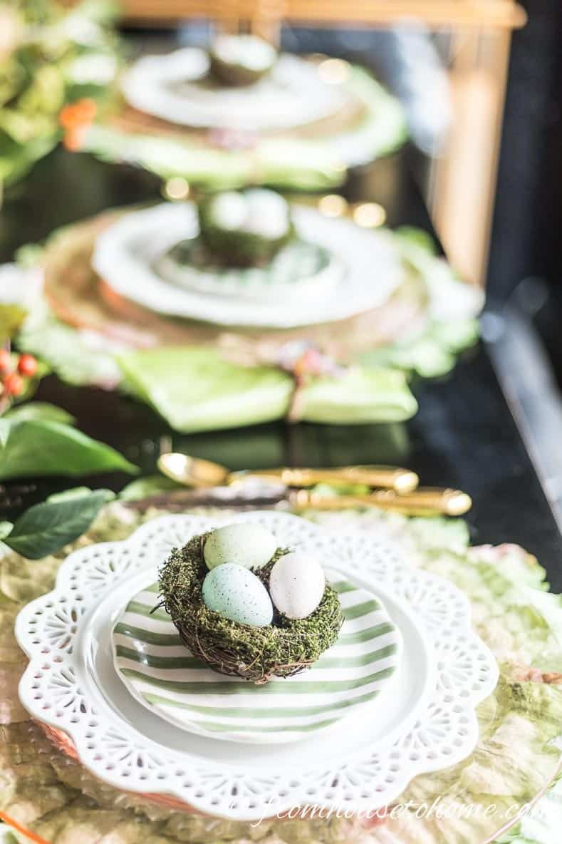 Whether you are hosting an Easter brunch or just having Easter dinner with your family, this gorgeous pink and green Easter tablescape will provide some beautiful Easter decorating ideas for your table. #entertainingdiva #tablesetting #entertaining  #easter #tablescapes #easterentertaining