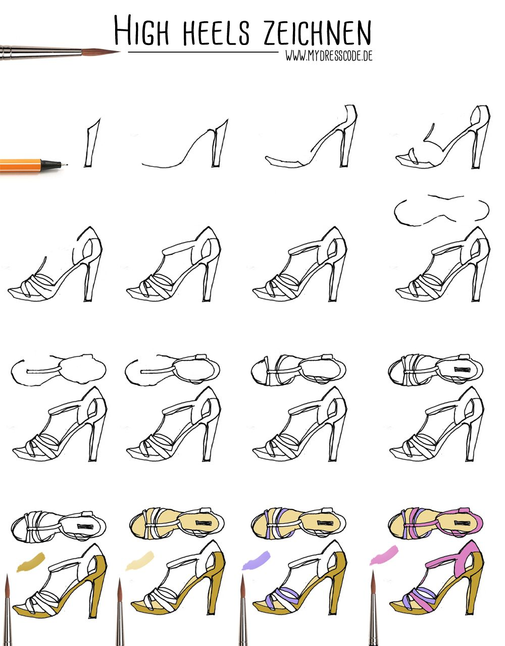 100% authentic a008c 67a57 Anleitung Highheels Schuhe zeichnen Illustration fashion ...