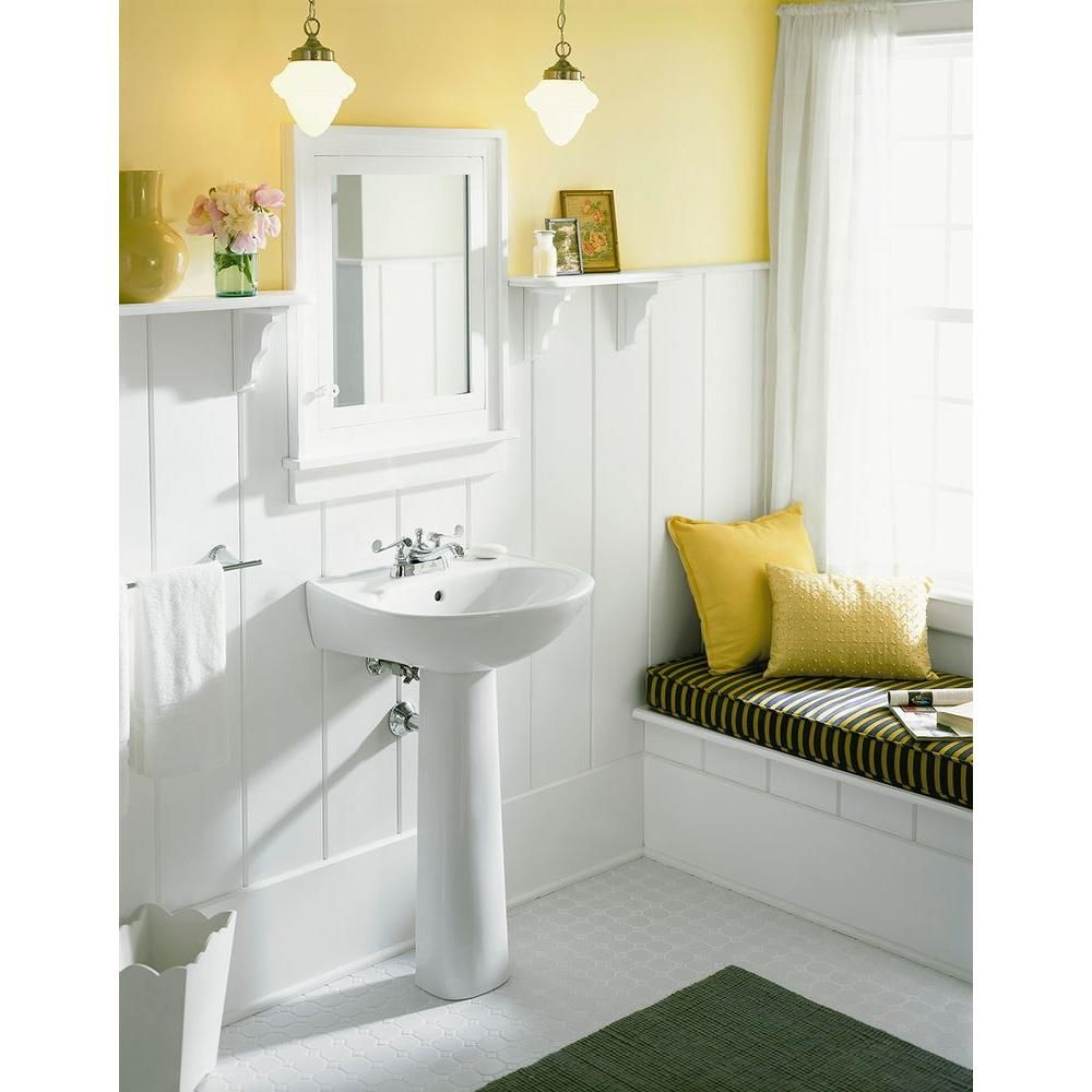 STERLING Sacramento Vitreous China Pedestal Combo Bathroom Sink In White  With Overflow Drain