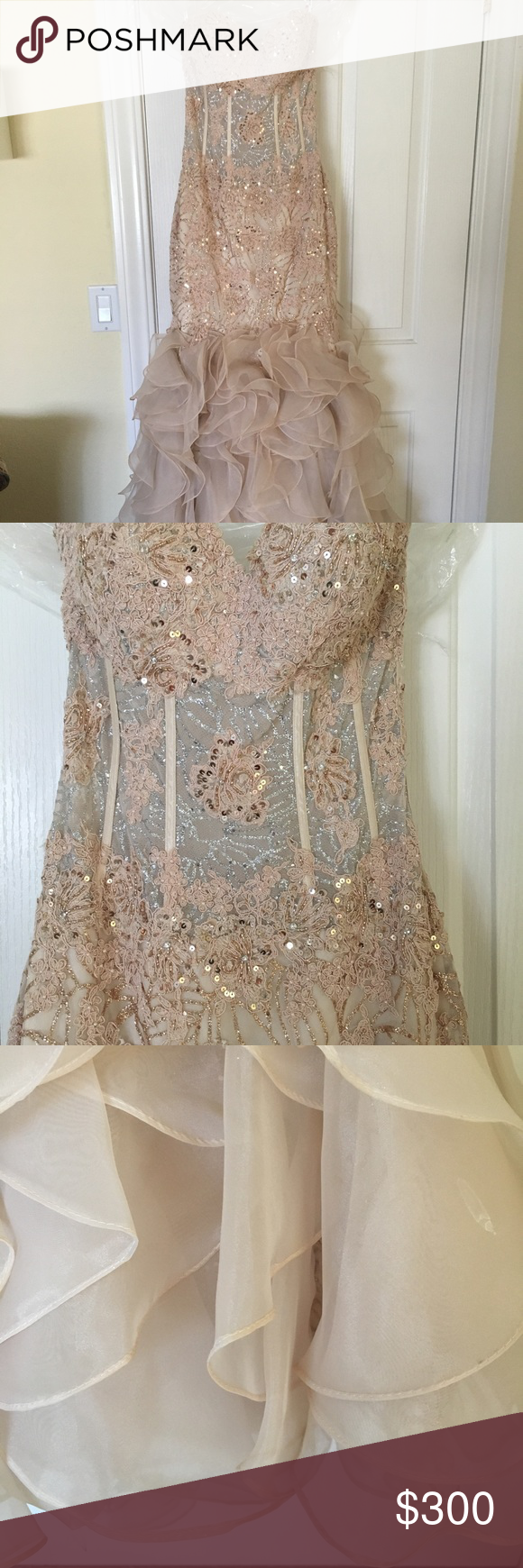 Jovani blush rose gold and silver mermaid gown size jovani gown