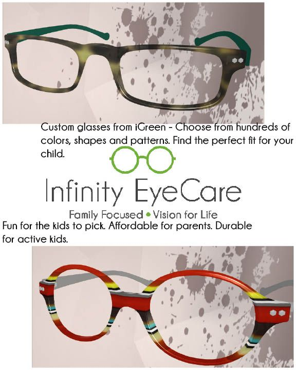 a5f23e47dde Customized iGreen Frames. Your Child Can get them in any size shape and  color they want! Mom and Dad get an affordable durable pair of glasses.
