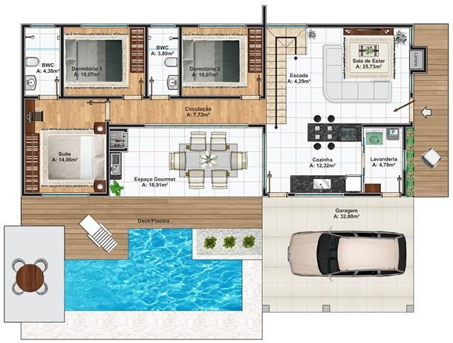 Plano de casa de 376 m2 casas pinterest architecture for Casas minecraft planos