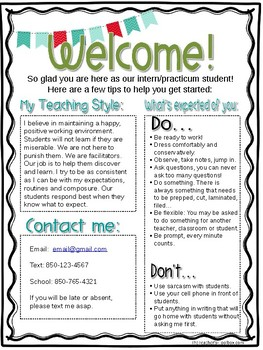 Editable StudentTeacher Intern Welcome Letter  Teacher And Students