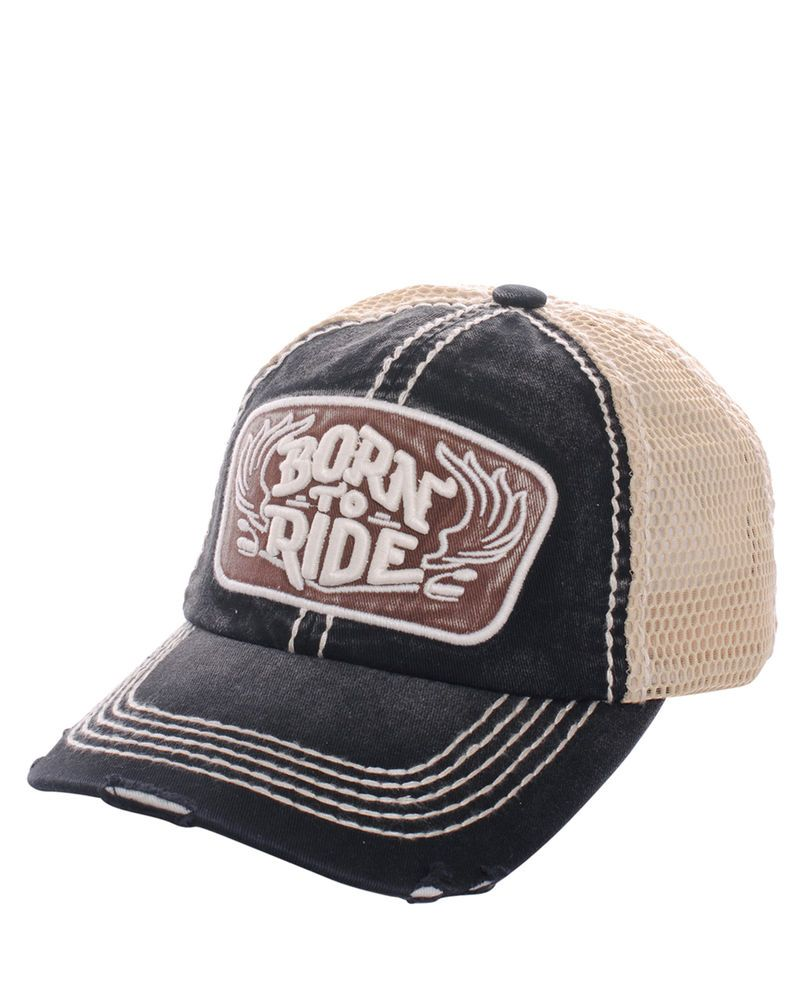 54d7ddf7 New Born To Ride Embroidered Distressed Baseball Cap Trucker Hat Mesh  Motorcycle #Unbranded #BaseballCap